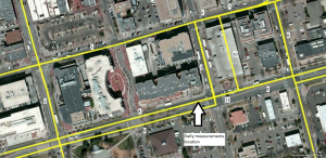 Buses routes on downtown Boulder streets close to the stationary measurement location.